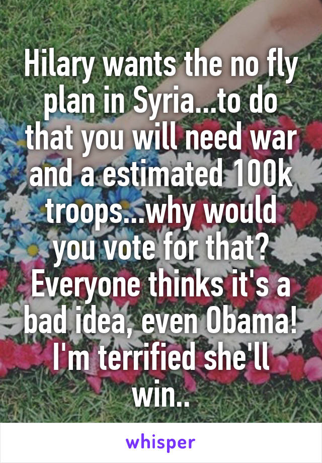 Hilary wants the no fly plan in Syria...to do that you will need war and a estimated 100k troops...why would you vote for that? Everyone thinks it's a bad idea, even Obama! I'm terrified she'll win..