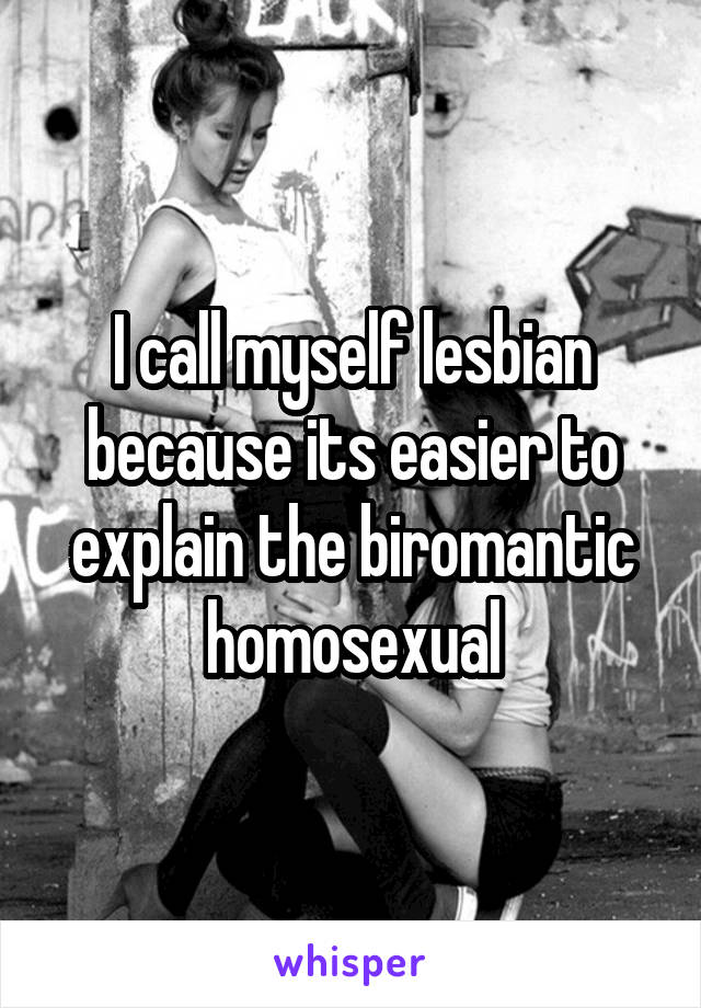 I call myself lesbian because its easier to explain the biromantic homosexual