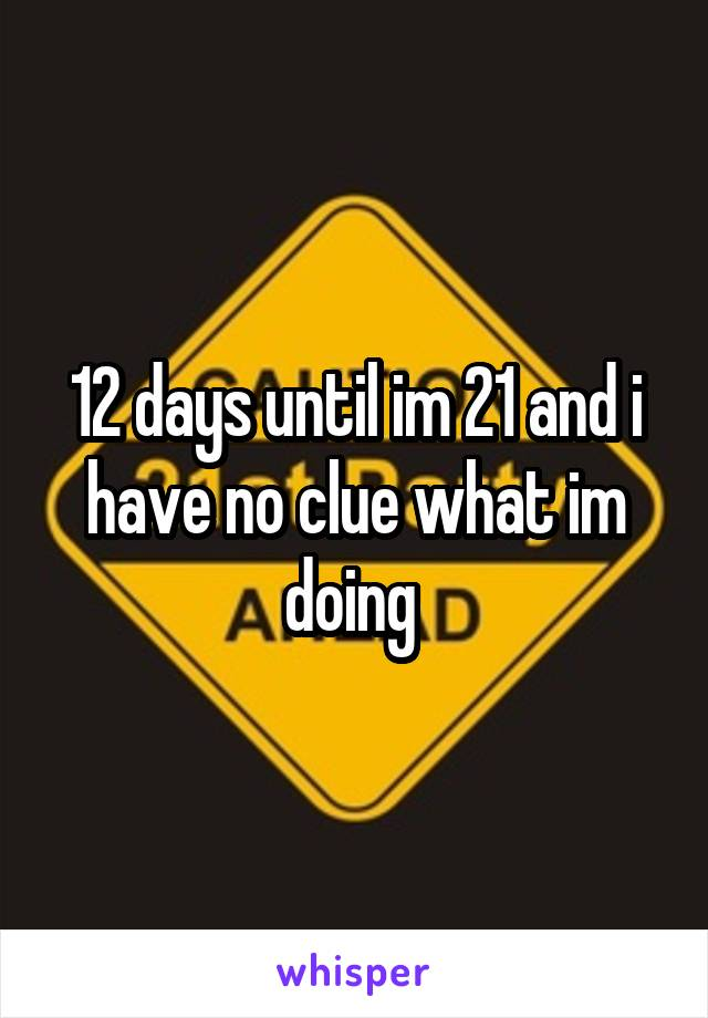 12 days until im 21 and i have no clue what im doing