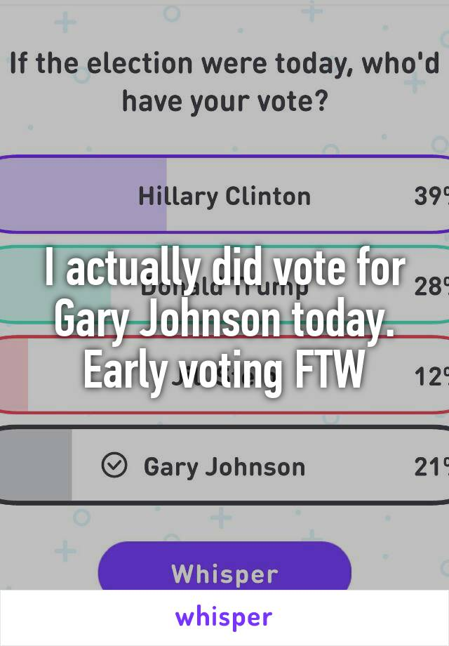 I actually did vote for Gary Johnson today. Early voting FTW