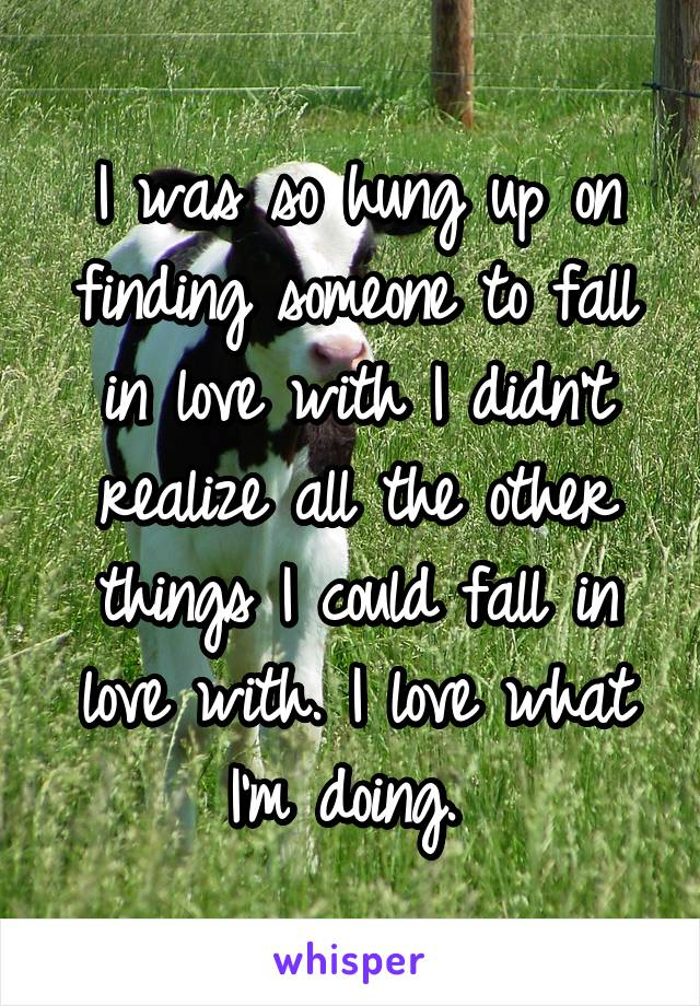 I was so hung up on finding someone to fall in love with I didn't realize all the other things I could fall in love with. I love what I'm doing.