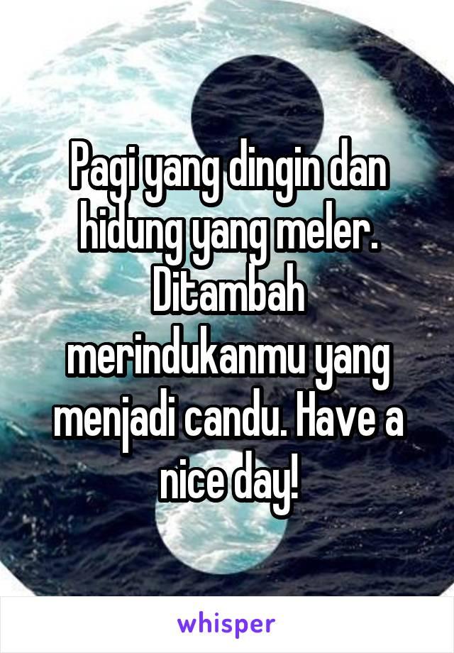 Pagi yang dingin dan hidung yang meler. Ditambah merindukanmu yang menjadi candu. Have a nice day!