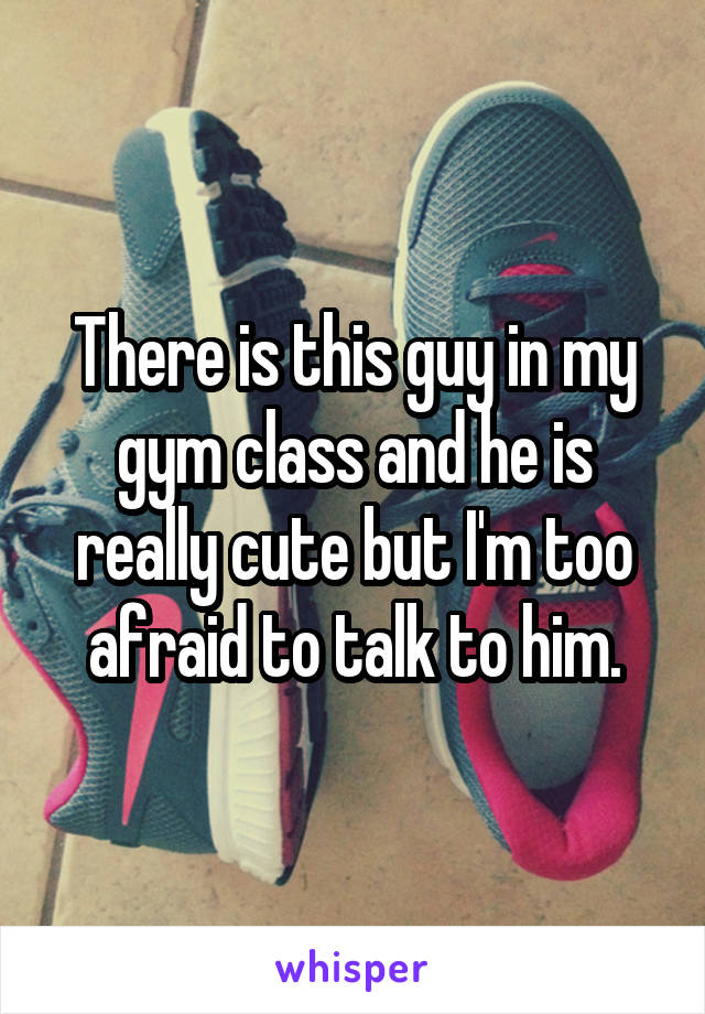 There is this guy in my gym class and he is really cute but I'm too afraid to talk to him.