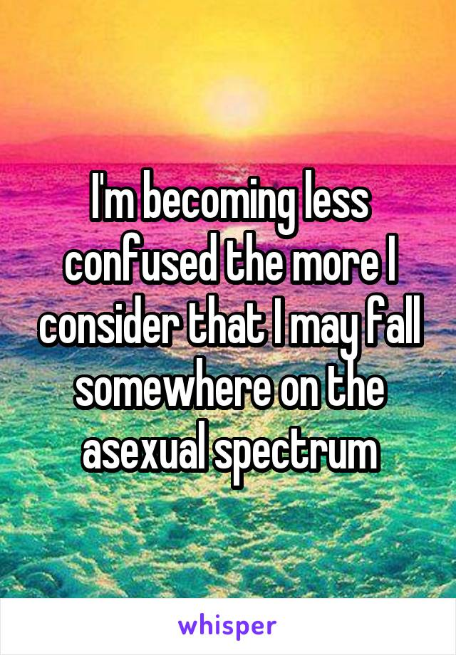 I'm becoming less confused the more I consider that I may fall somewhere on the asexual spectrum