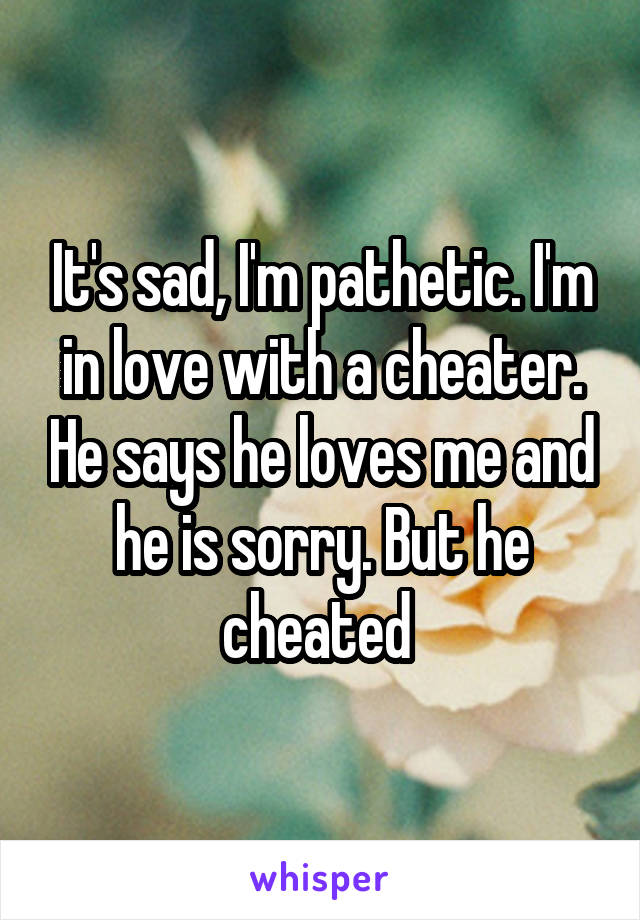 It's sad, I'm pathetic. I'm in love with a cheater. He says he loves me and he is sorry. But he cheated