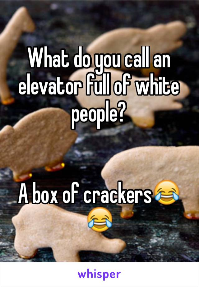 What do you call an elevator full of white people?   A box of crackers😂😂