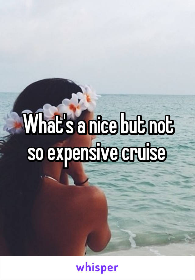 What's a nice but not so expensive cruise