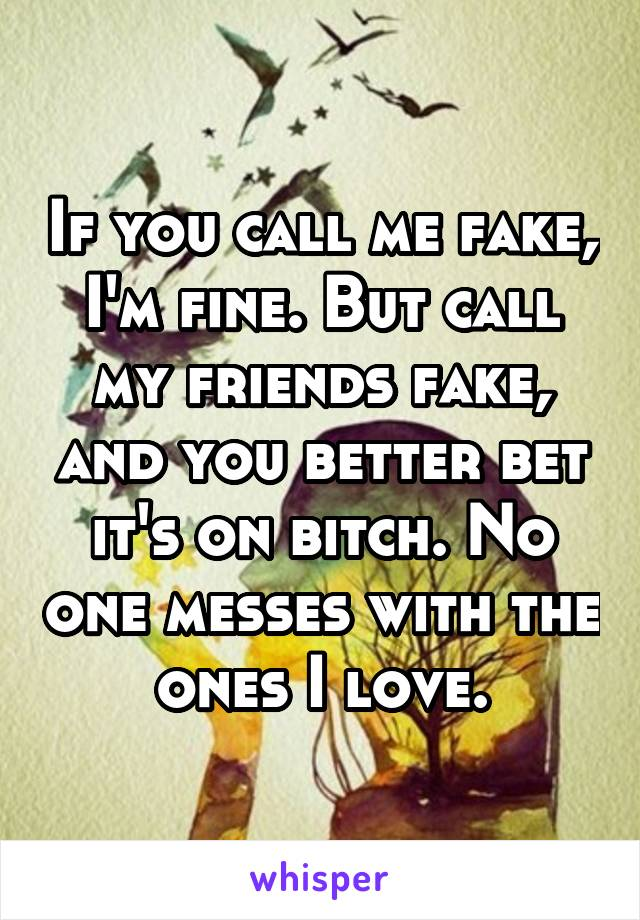 If you call me fake, I'm fine. But call my friends fake, and you better bet it's on bitch. No one messes with the ones I love.