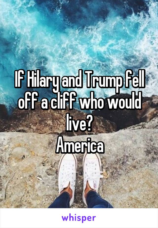 If Hilary and Trump fell off a cliff who would live? America