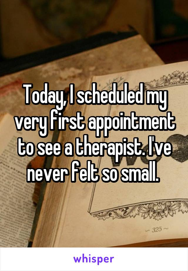 Today, I scheduled my very first appointment to see a therapist. I've never felt so small.
