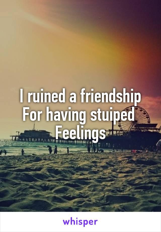 I ruined a friendship For having stuiped  Feelings