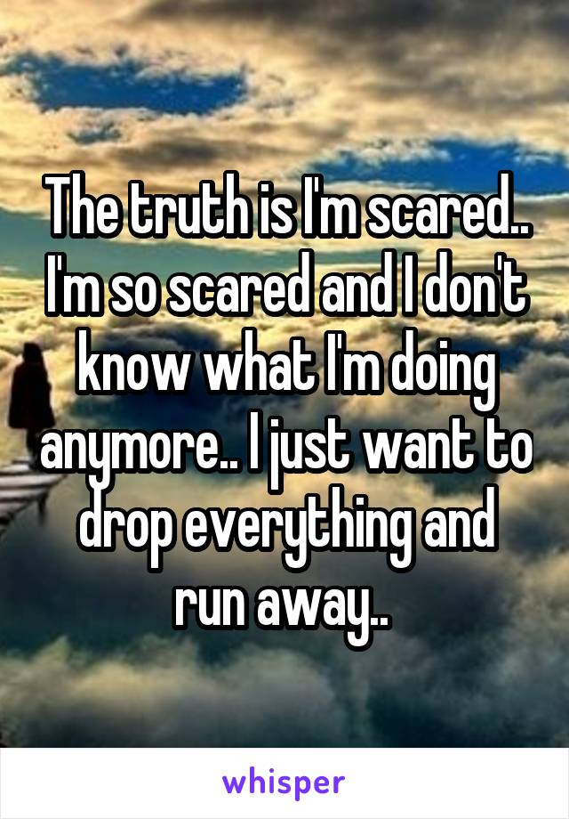 The truth is I'm scared.. I'm so scared and I don't know what I'm doing anymore.. I just want to drop everything and run away..