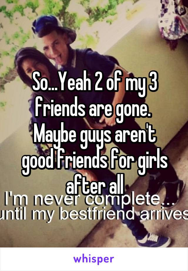So...Yeah 2 of my 3 friends are gone.  Maybe guys aren't good friends for girls after all