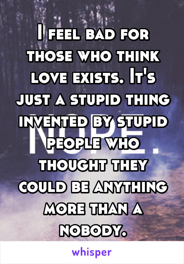 I feel bad for those who think love exists. It's just a stupid thing invented by stupid people who thought they could be anything more than a nobody.