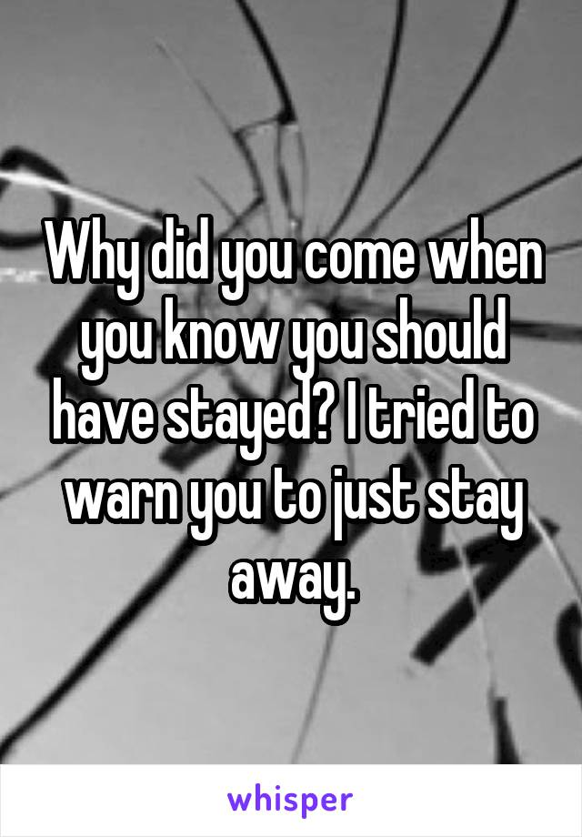 Why did you come when you know you should have stayed? I tried to warn you to just stay away.