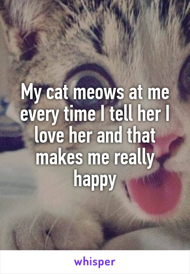 My cat meows at me every time I tell her I love her and that makes me really happy