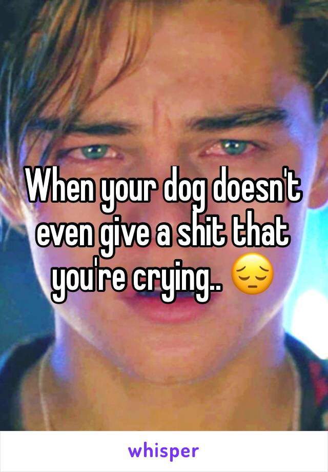 When your dog doesn't even give a shit that you're crying.. 😔