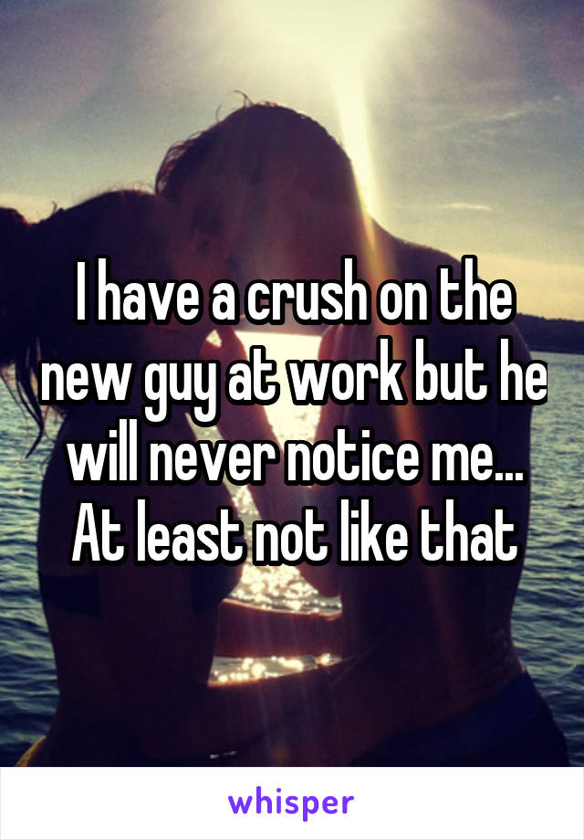 I have a crush on the new guy at work but he will never notice me... At least not like that