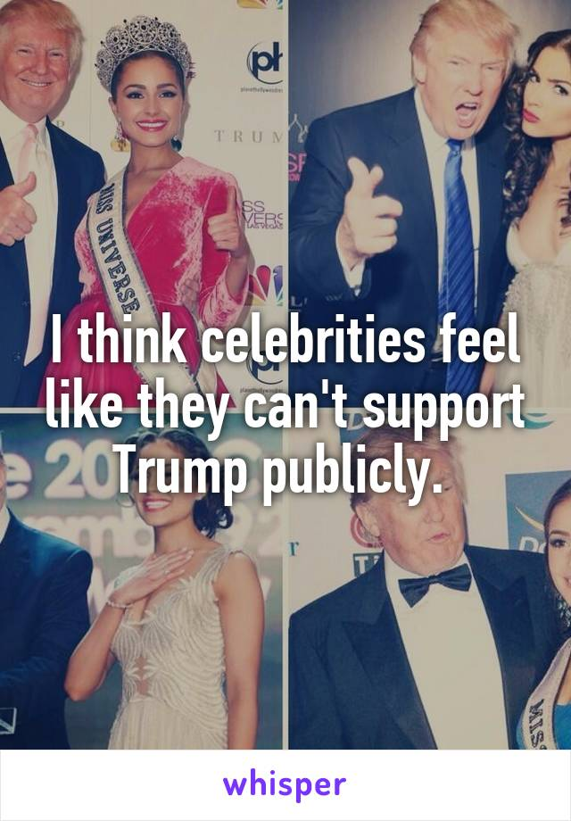 I think celebrities feel like they can't support Trump publicly.
