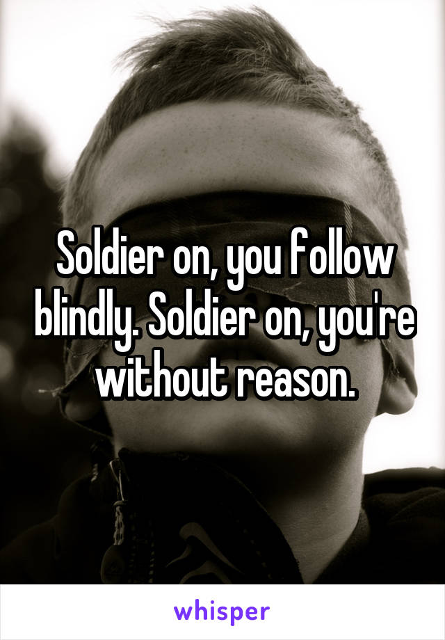 Soldier on, you follow blindly. Soldier on, you're without reason.