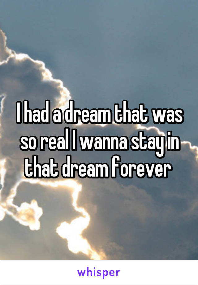 I had a dream that was so real I wanna stay in that dream forever