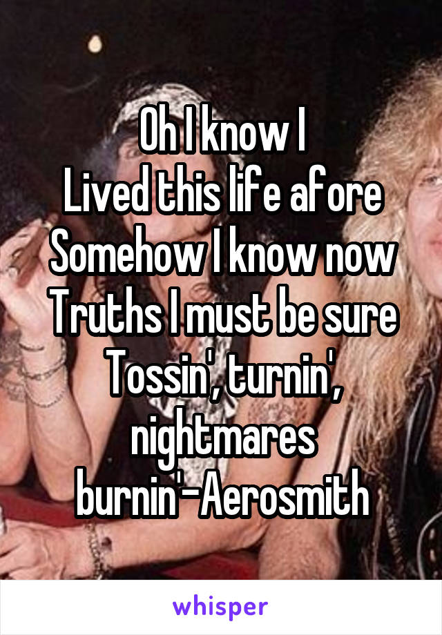 Oh I know I Lived this life afore Somehow I know now Truths I must be sure Tossin', turnin', nightmares burnin'-Aerosmith