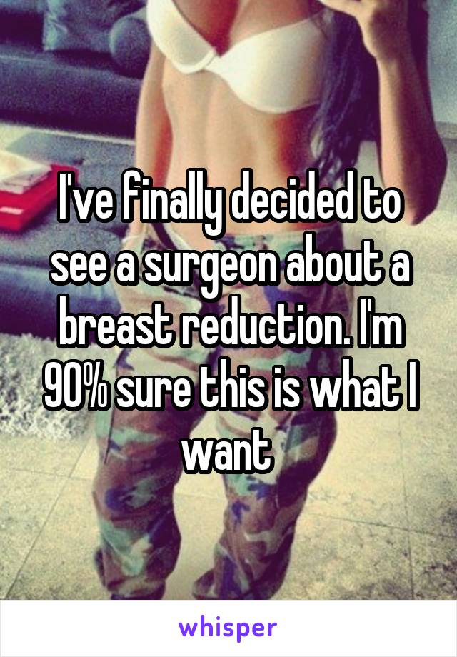 I've finally decided to see a surgeon about a breast reduction. I'm 90% sure this is what I want