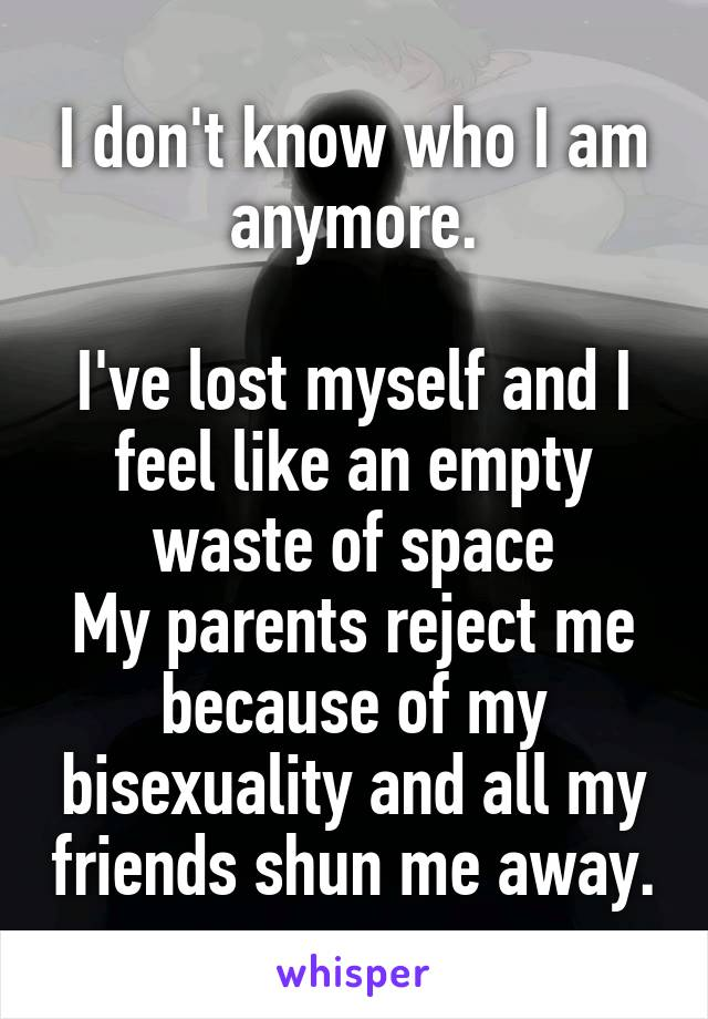 I don't know who I am anymore.  I've lost myself and I feel like an empty waste of space My parents reject me because of my bisexuality and all my friends shun me away.