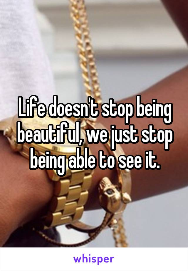 Life doesn't stop being beautiful, we just stop being able to see it.