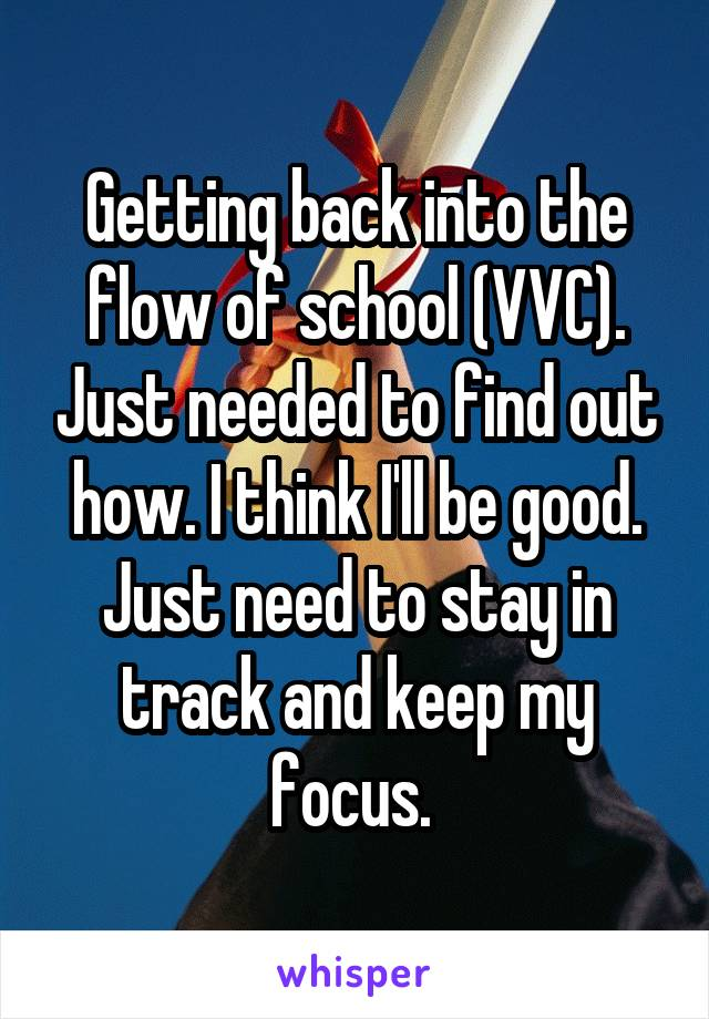Getting back into the flow of school (VVC). Just needed to find out how. I think I'll be good. Just need to stay in track and keep my focus.