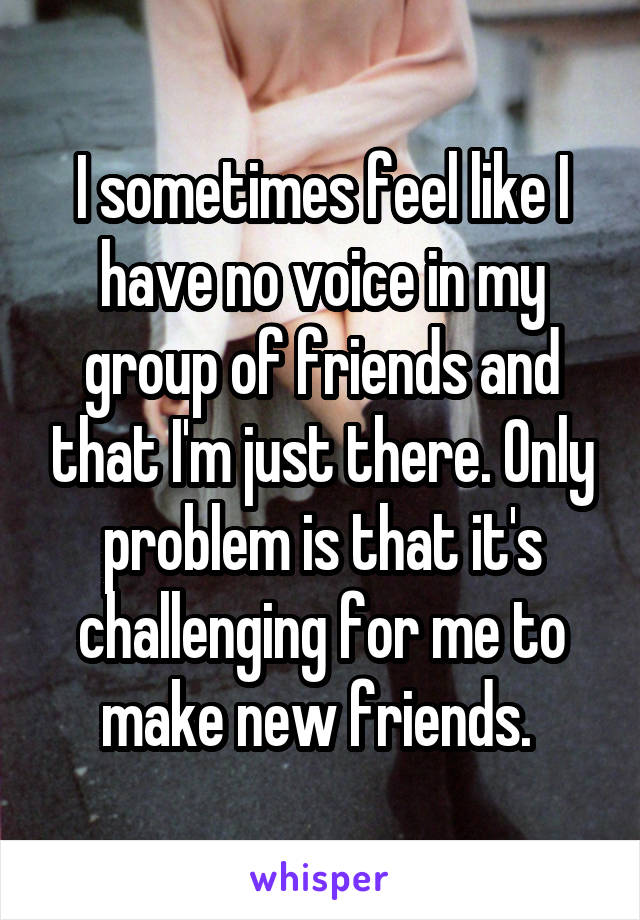 I sometimes feel like I have no voice in my group of friends and that I'm just there. Only problem is that it's challenging for me to make new friends.