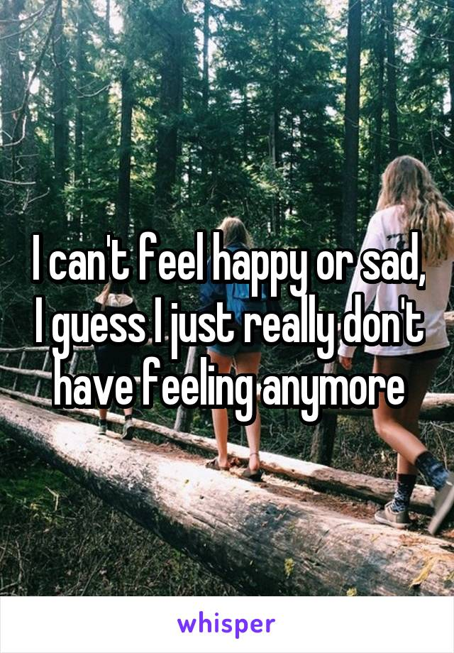 I can't feel happy or sad, I guess I just really don't have feeling anymore