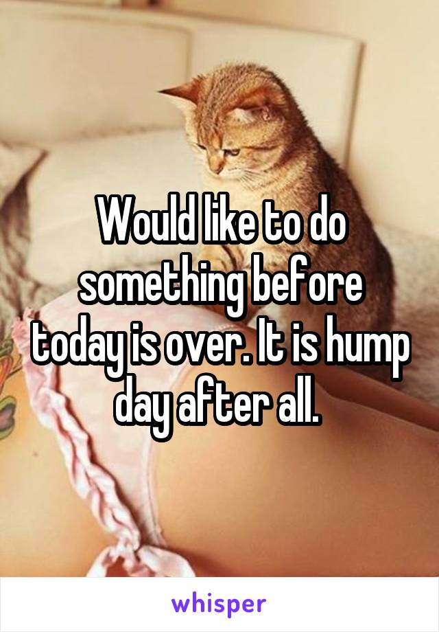 Would like to do something before today is over. It is hump day after all.