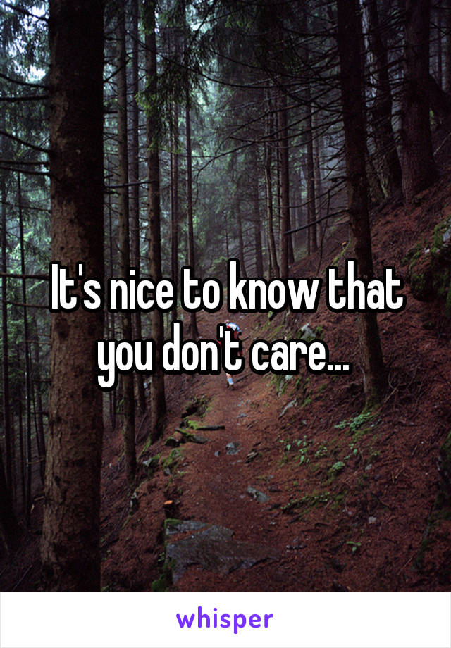 It's nice to know that you don't care...