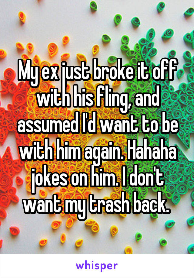 My ex just broke it off with his fling, and assumed I'd want to be with him again. Hahaha jokes on him. I don't want my trash back.