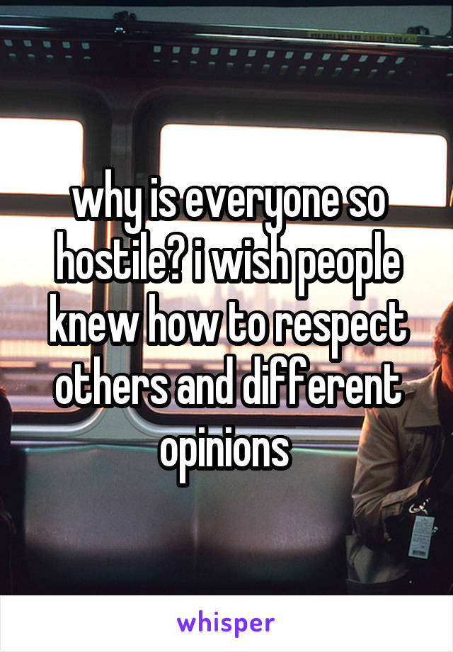 why is everyone so hostile? i wish people knew how to respect others and different opinions