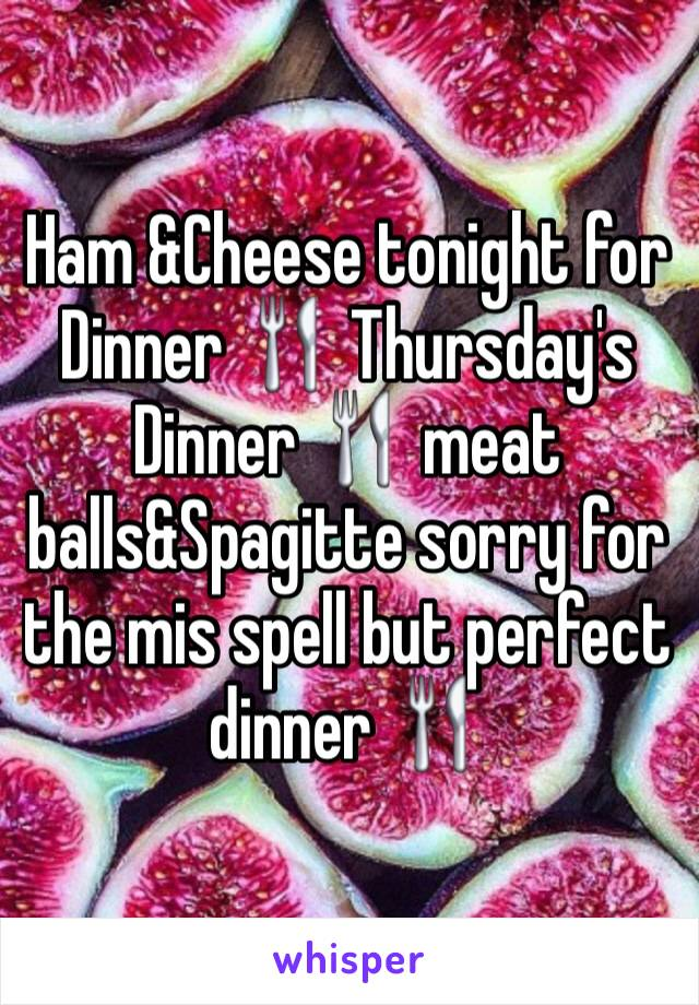 Ham &Cheese tonight for  Dinner 🍴 Thursday's Dinner 🍴 meat balls&Spagitte sorry for the mis spell but perfect dinner 🍴