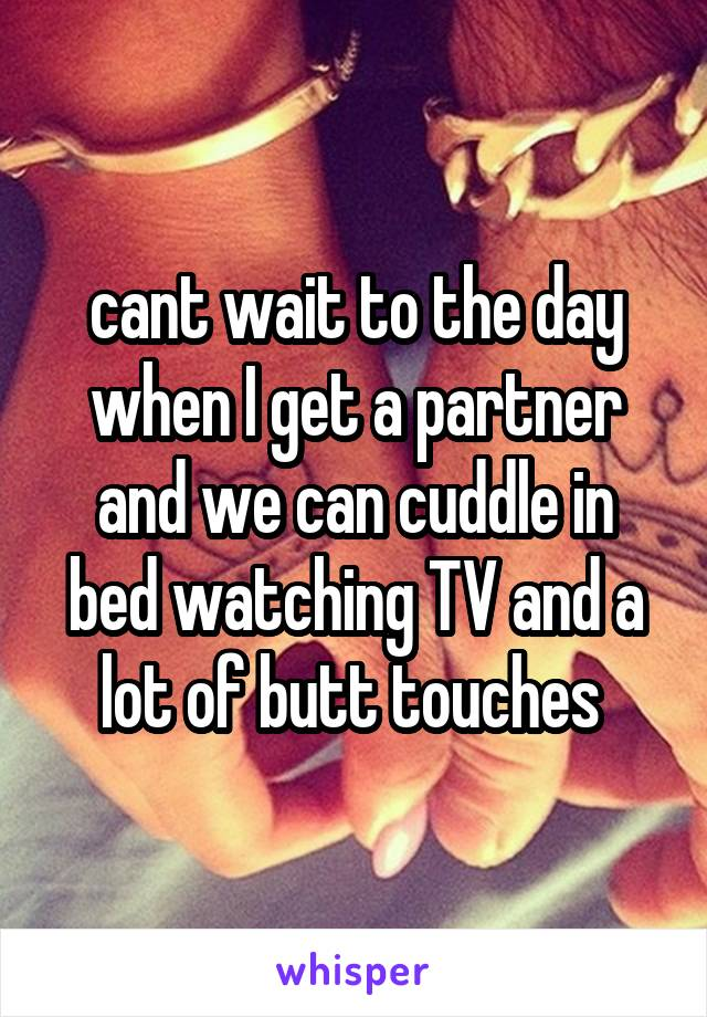 cant wait to the day when I get a partner and we can cuddle in bed watching TV and a lot of butt touches