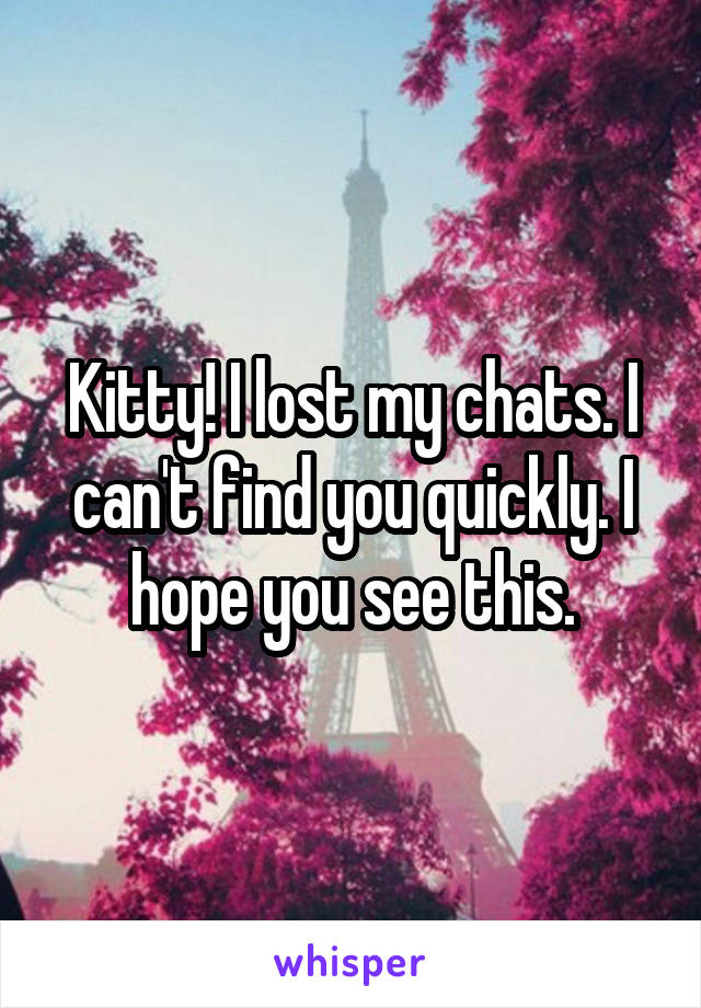 Kitty! I lost my chats. I can't find you quickly. I hope you see this.