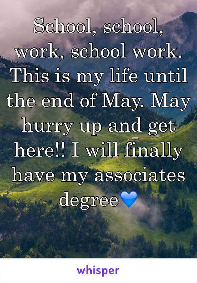 School, school, work, school work. This is my life until the end of May. May hurry up and get here!! I will finally have my associates degree💙
