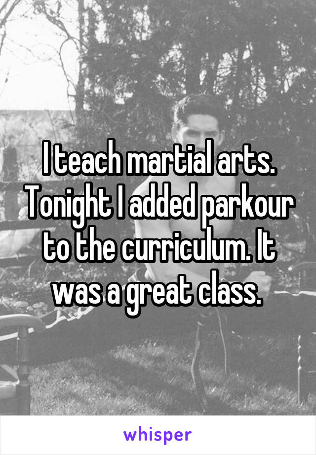 I teach martial arts. Tonight I added parkour to the curriculum. It was a great class.