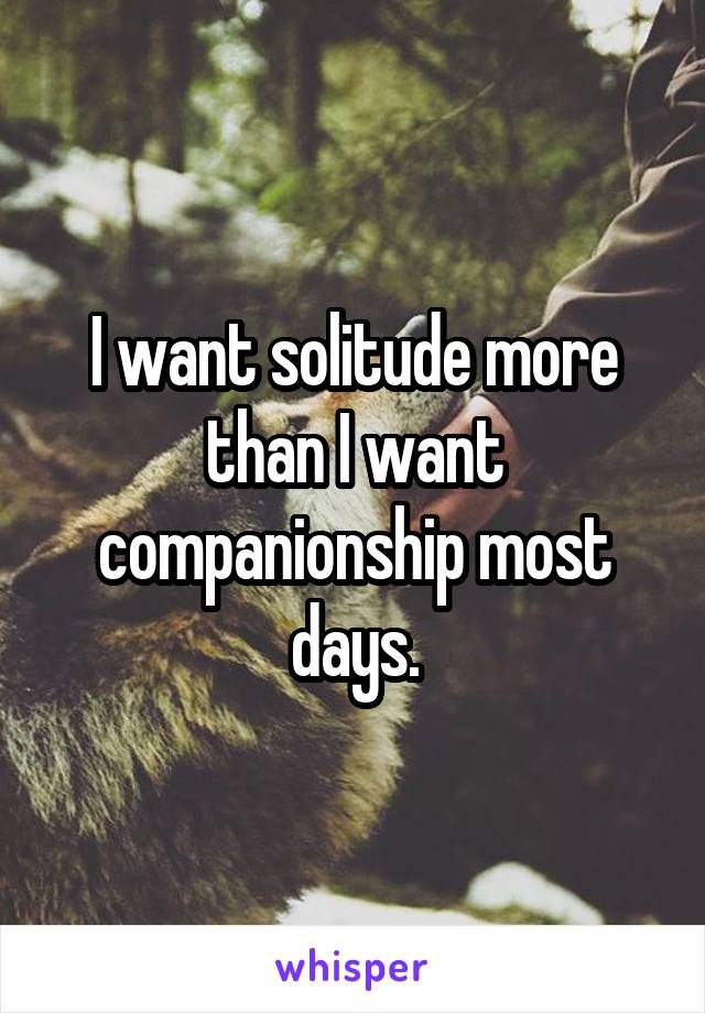 I want solitude more than I want companionship most days.