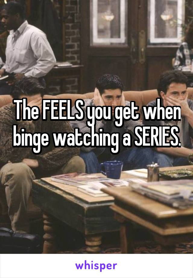 The FEELS you get when binge watching a SERIES.