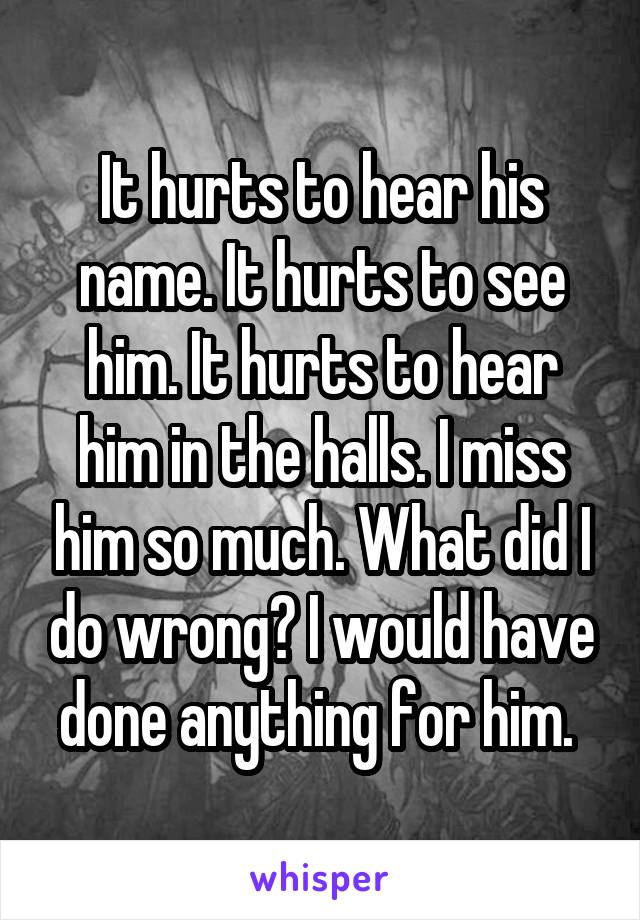 It hurts to hear his name. It hurts to see him. It hurts to hear him in the halls. I miss him so much. What did I do wrong? I would have done anything for him.