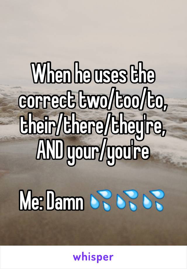 When he uses the correct two/too/to, their/there/they're, AND your/you're  Me: Damn 💦💦💦