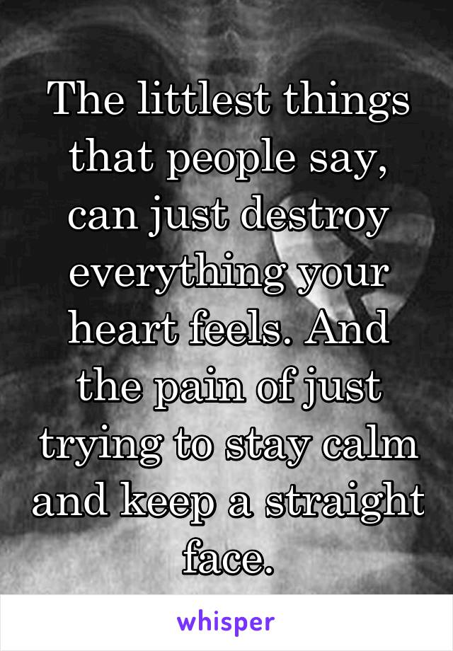 The littlest things that people say, can just destroy everything your heart feels. And the pain of just trying to stay calm and keep a straight face.