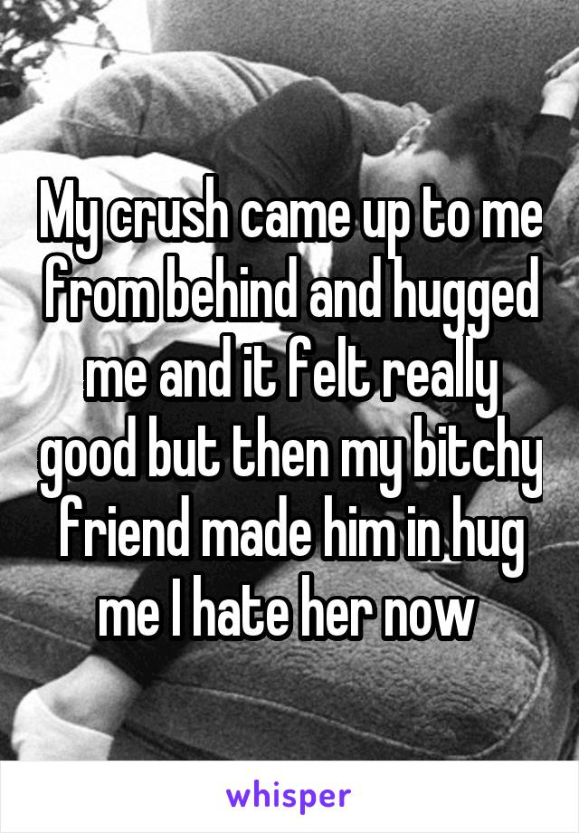 My crush came up to me from behind and hugged me and it felt really good but then my bitchy friend made him in hug me I hate her now