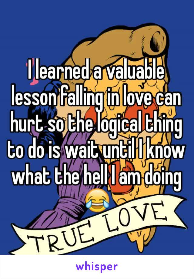 I learned a valuable lesson falling in love can hurt so the logical thing to do is wait until I know what the hell I am doing 😂