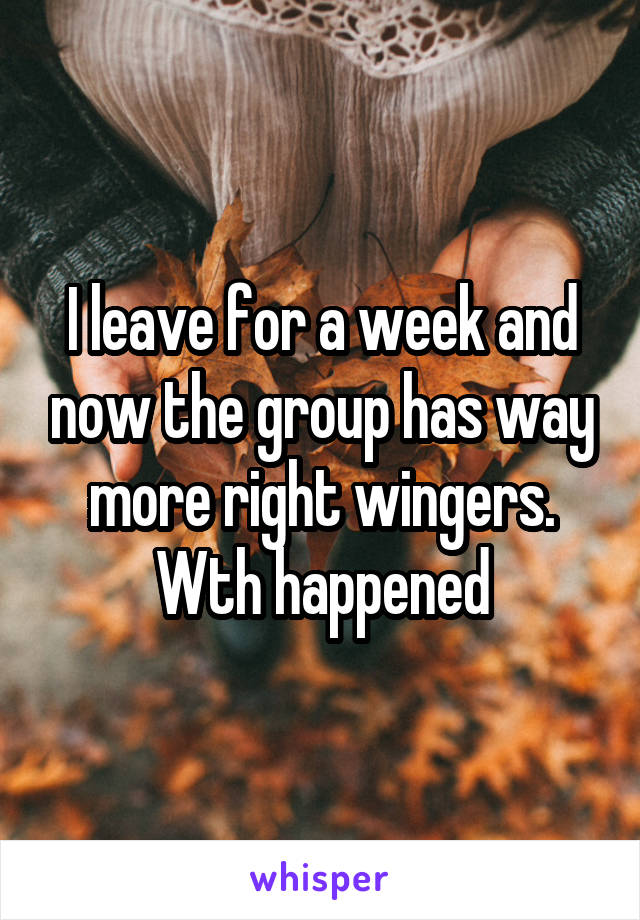 I leave for a week and now the group has way more right wingers. Wth happened