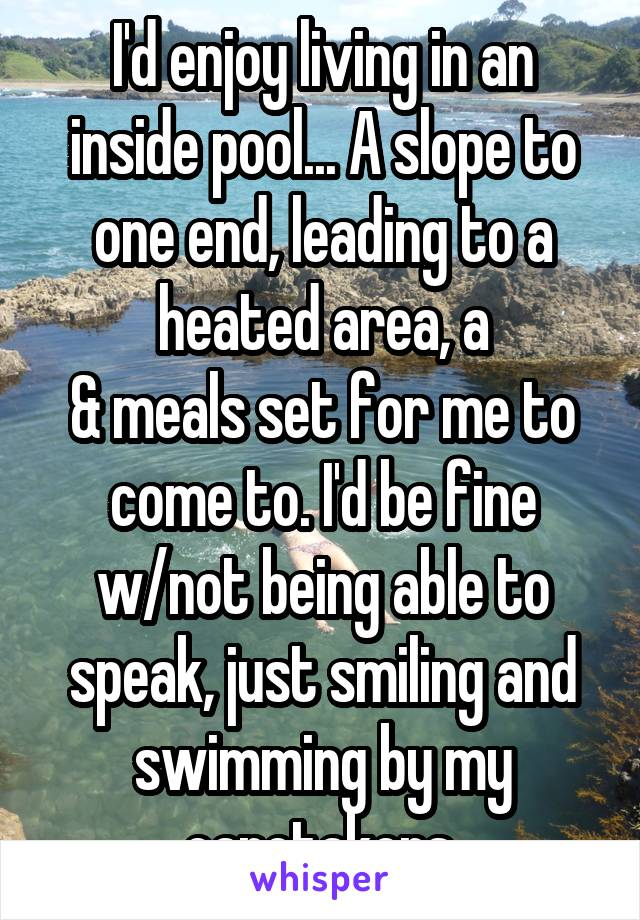 I'd enjoy living in an inside pool... A slope to one end, leading to a heated area, a & meals set for me to come to. I'd be fine w/not being able to speak, just smiling and swimming by my caretakers.